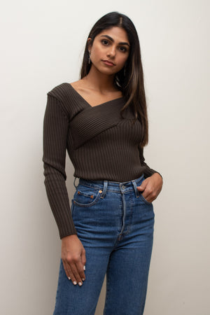 Brown Knit Fitted Top
