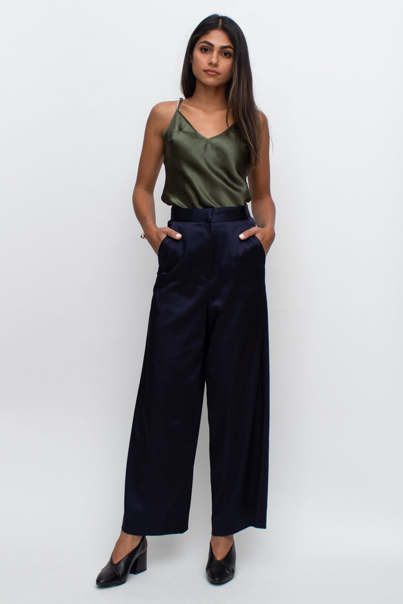 Navy Satin High Waisted Wide Pants