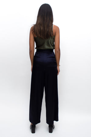 Navy Silk High Waisted Wide Pants