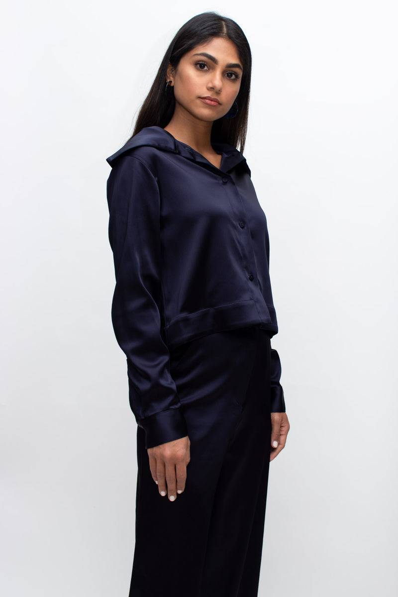 Navy Satin Large Collar Buttoned Shirt
