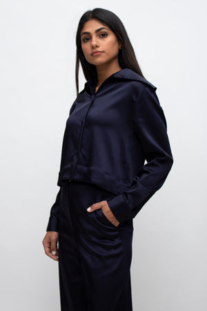 Navy Silk Large Collar Buttoned Shirt