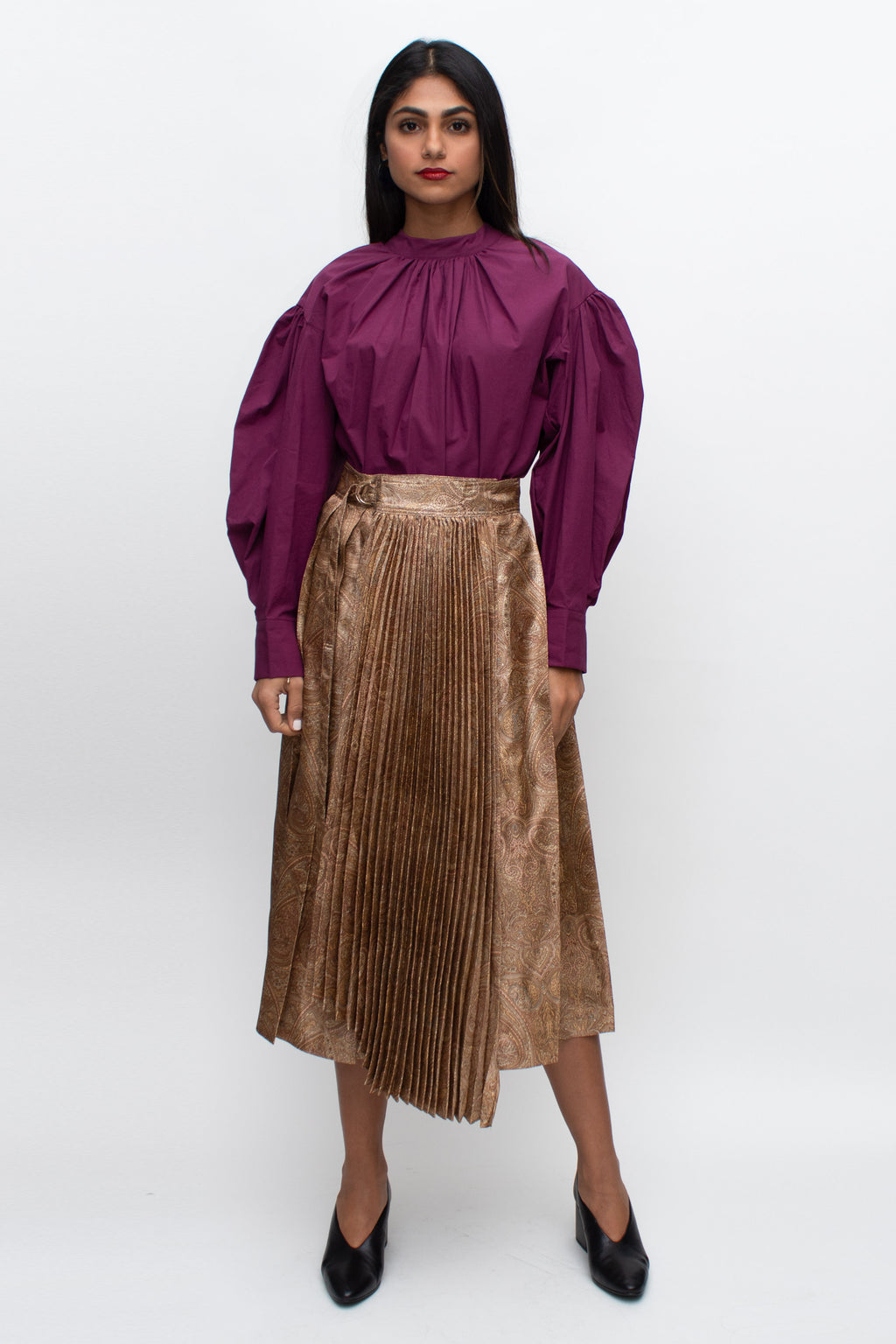 Metallic Paisly Patterned Pleated Silk Skirt
