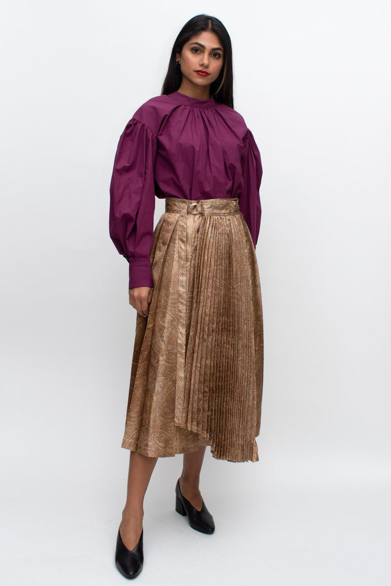 Paisley Patterned Pleated Silk Skirt