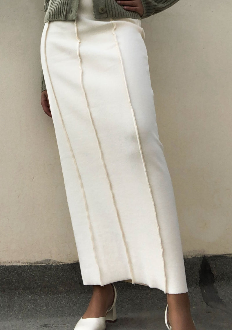 Cream Lined Maxi Skirt