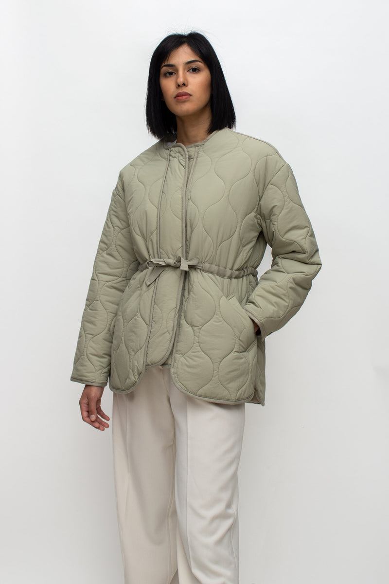 Pistachio Green Quilted String Tied Jacket