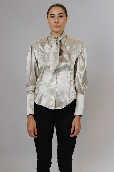 Silk Neck-Tied Shirt
