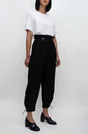 Black Drawstring High Waisted Pants