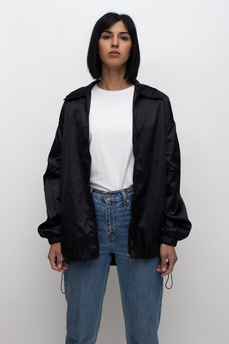 Black Satin String Ruched Jacket