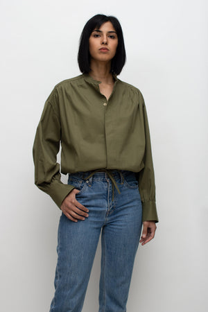 Olive Green String Tied Blouse