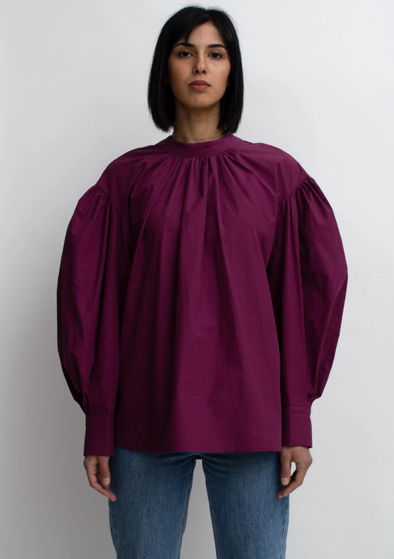 Burgundy Puff Sleeves Pleated Blouse