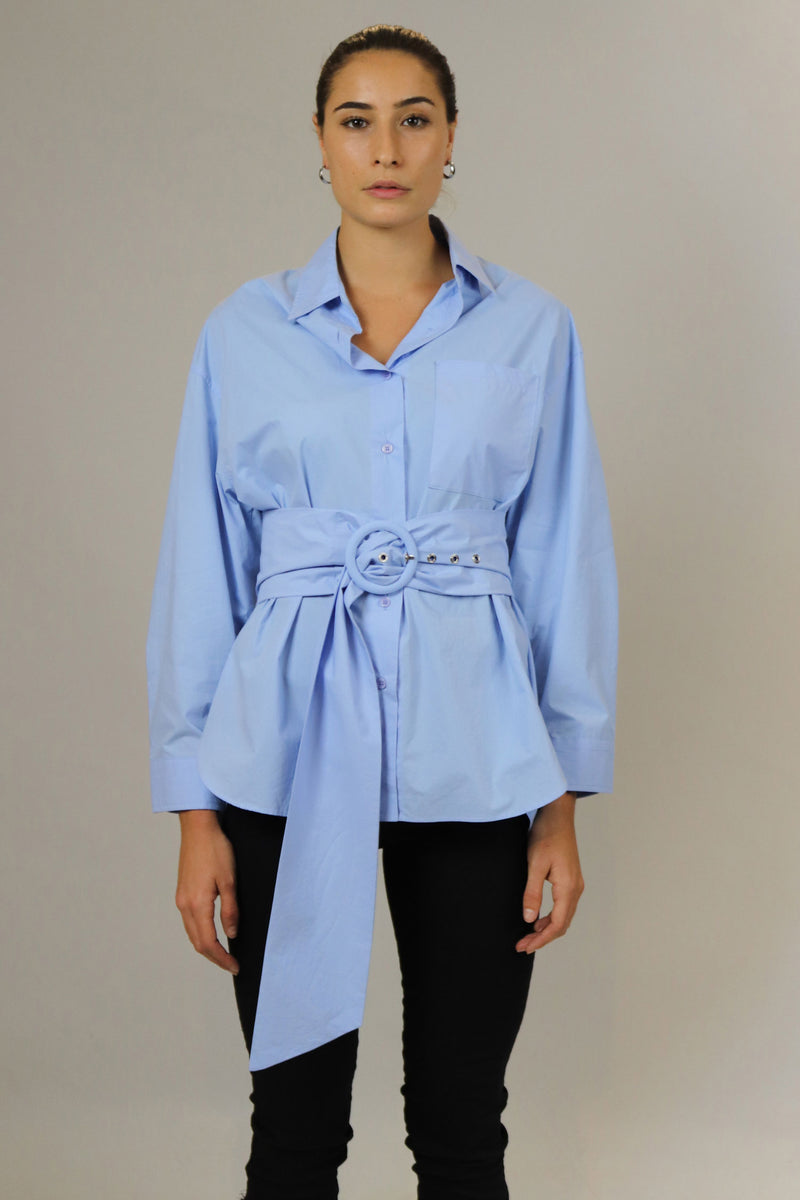 Sky Blue Cotton Belted Blouse