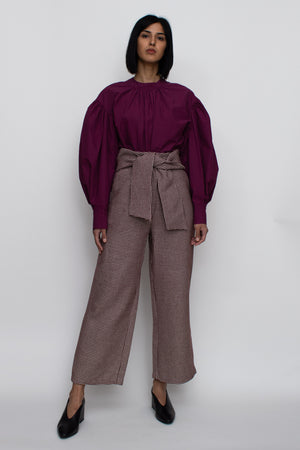 Wool Check High-Waisted Pants