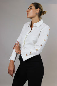 White Linen Buttons Shirt
