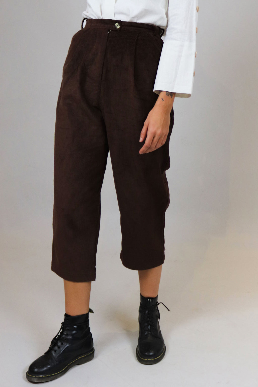 Brown Corduroy High-Waisted Pants