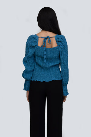 Turquoise Blue Ruched Top