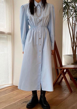 Sky Blue Long Chain Shirtdress