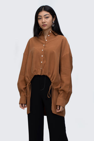 Ochre Drawstring Asymmetrical Shirt