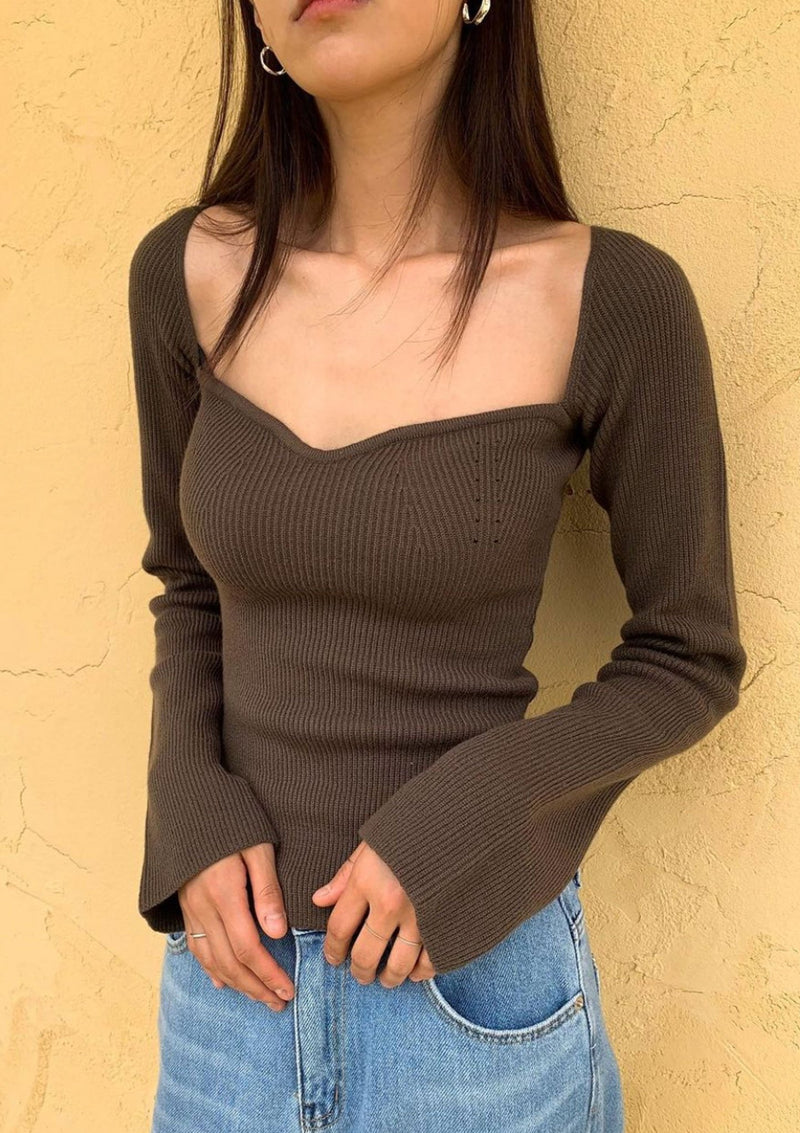 Brown Knit Bustier Top