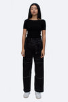 Double Buttons Baggy Pants in Black