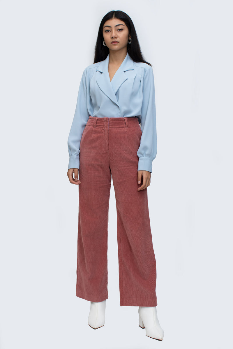 Pink Corduroy Wide Pants