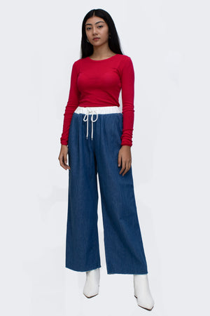 String Band Denim Pants