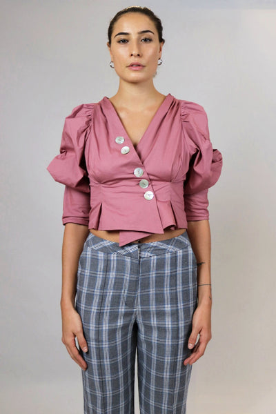 Pink Puffed Sleeves Blouse