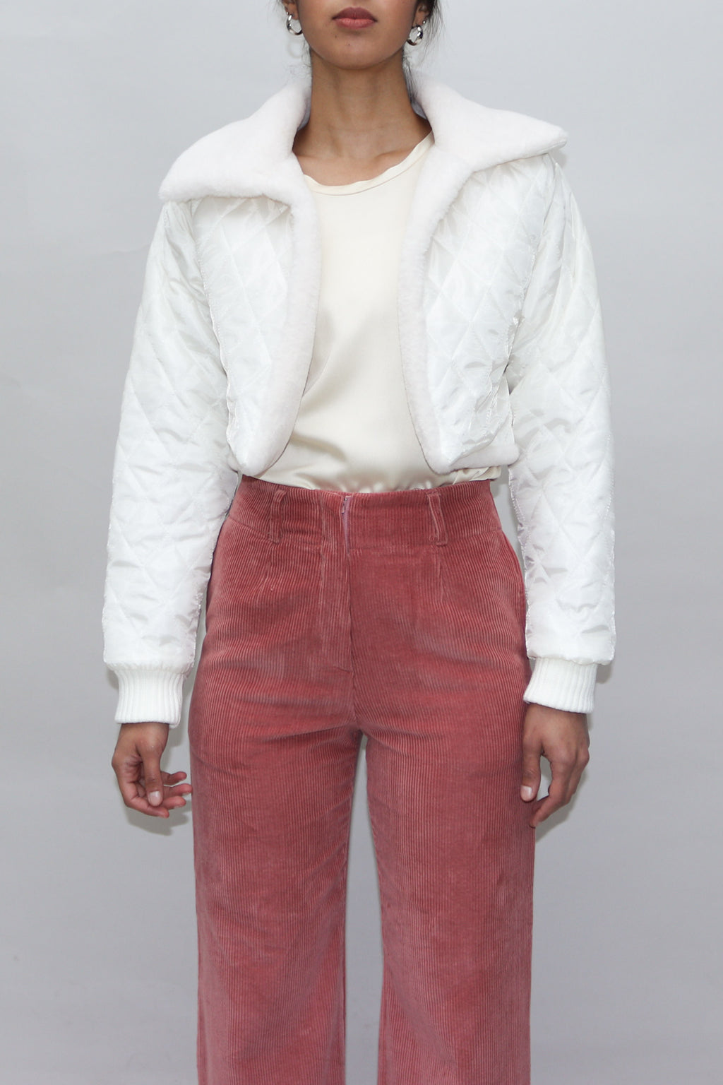 White Quilted Cropped Jacket