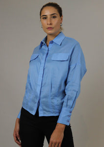 Blue Buttoned Down Top