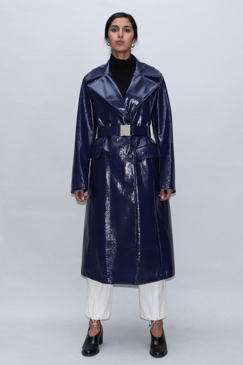 Navy Patent Leather Coat