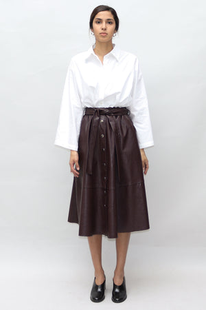 Brown Leather Midi Skirt