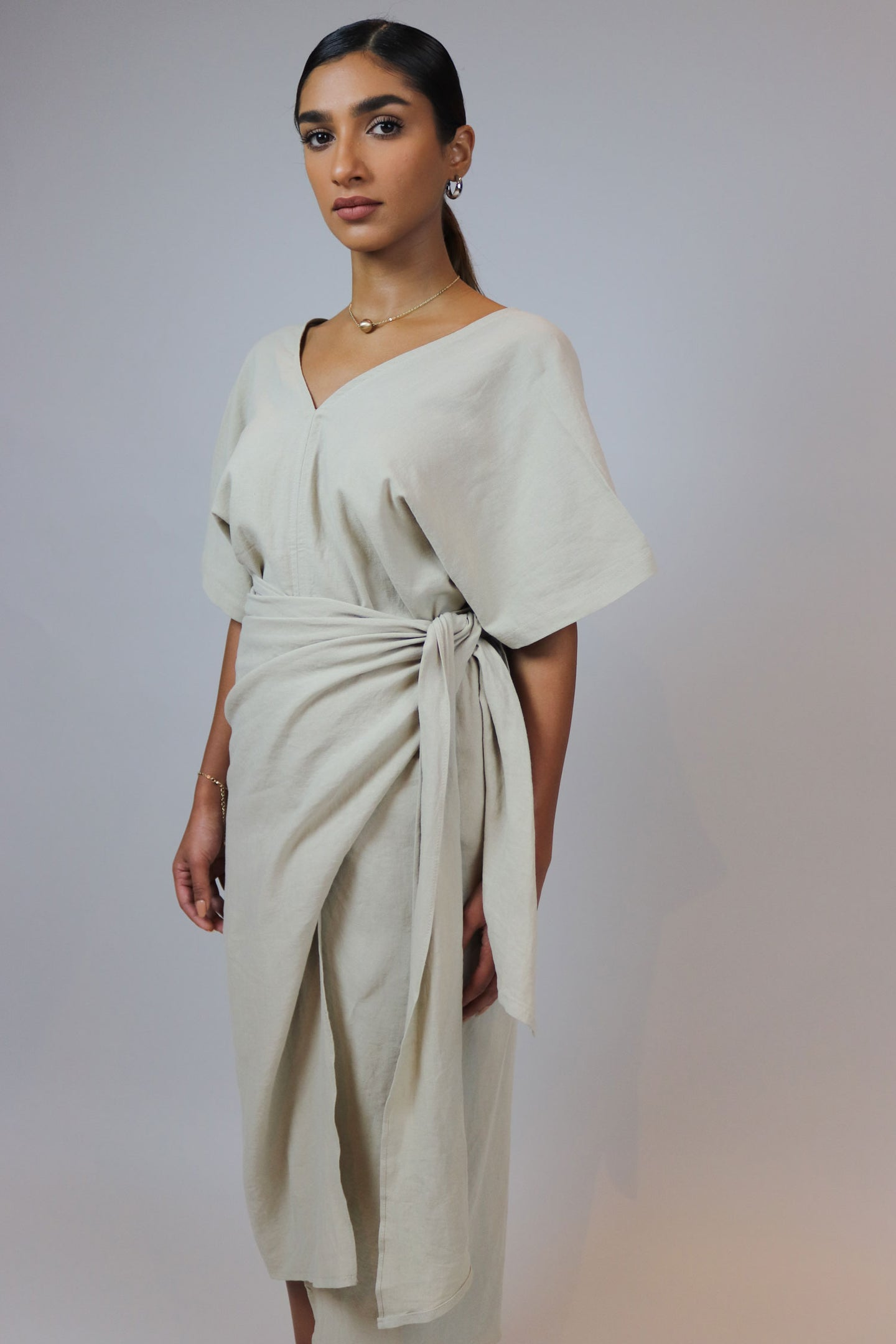 Linen Wrapped Beige Top and Skirt Set