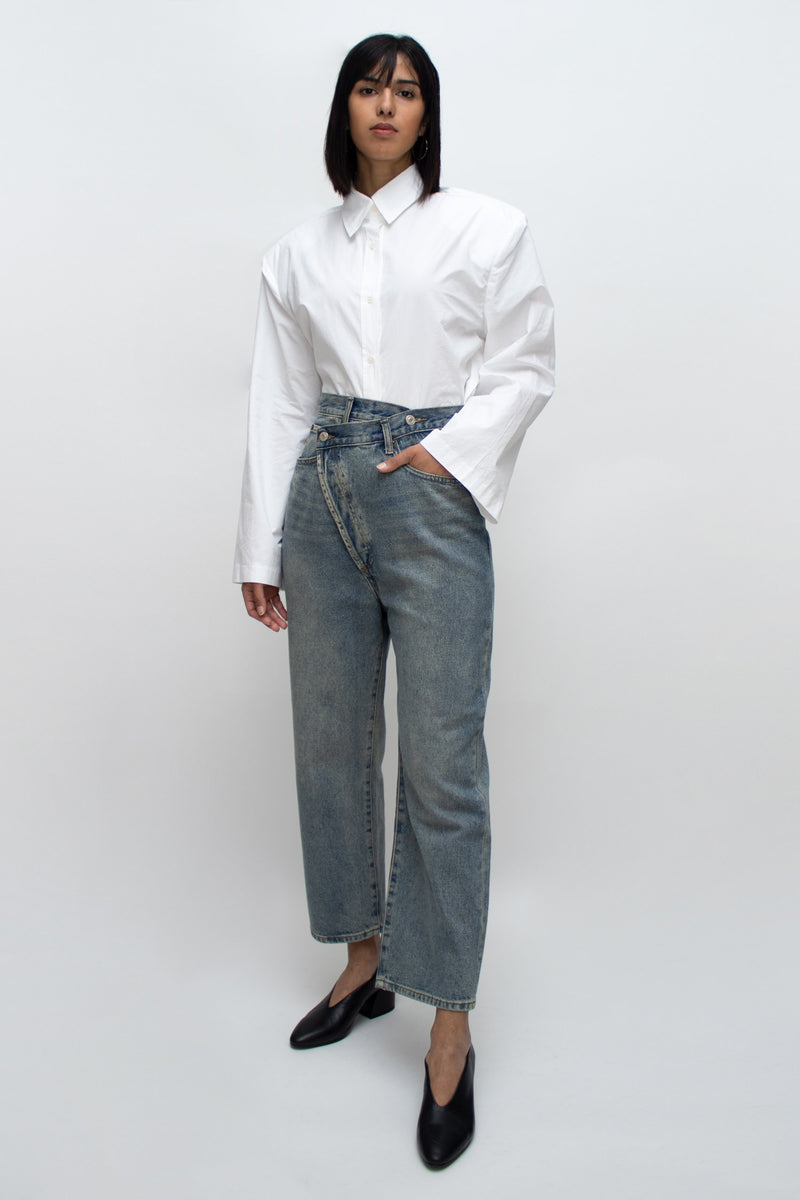 Wide Cut Asymmetrical Blue Jeans