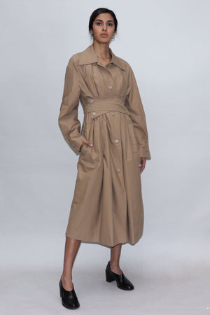 Beige Tied Waist Trench Coat