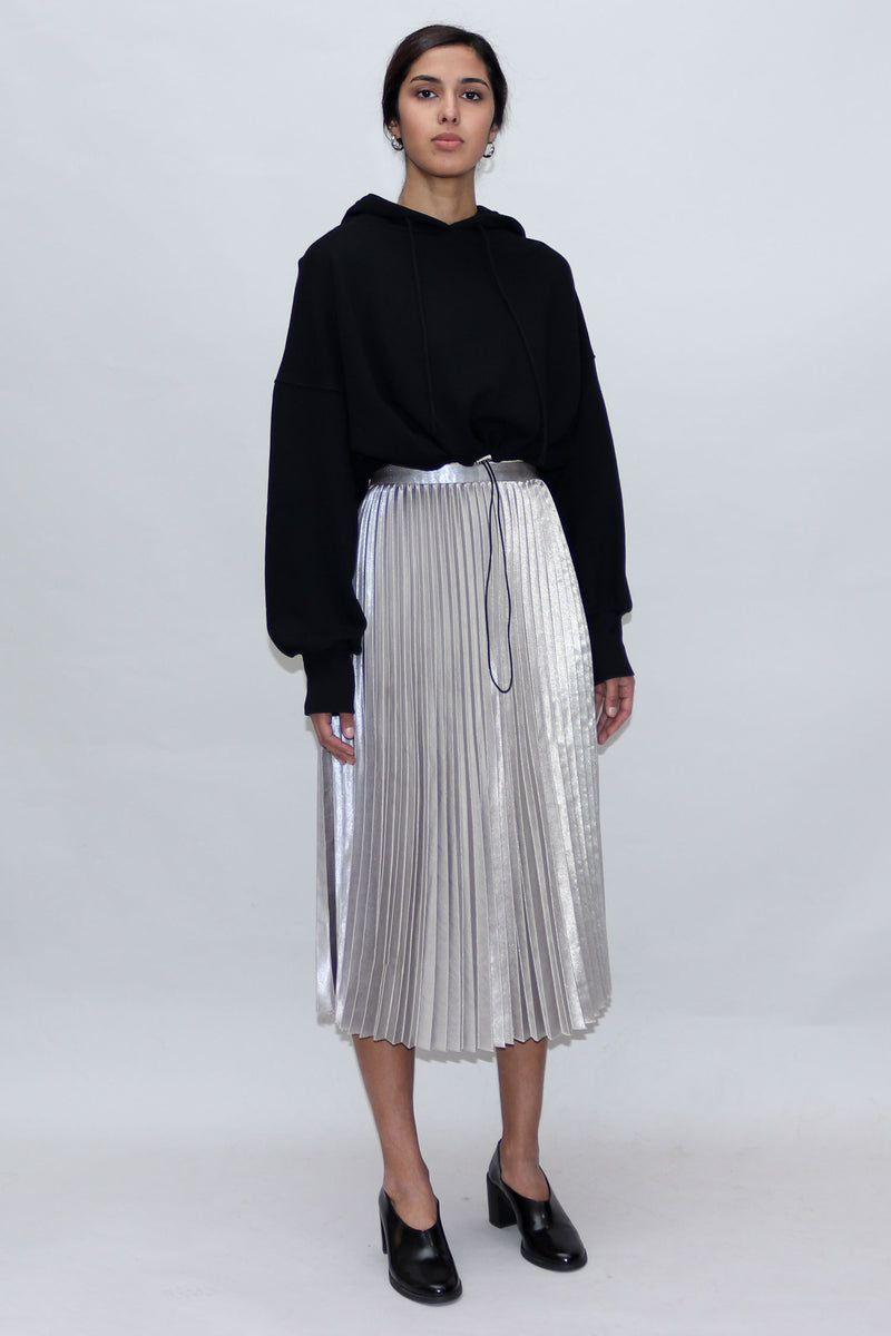 Silver Metallic Pleated Skirt