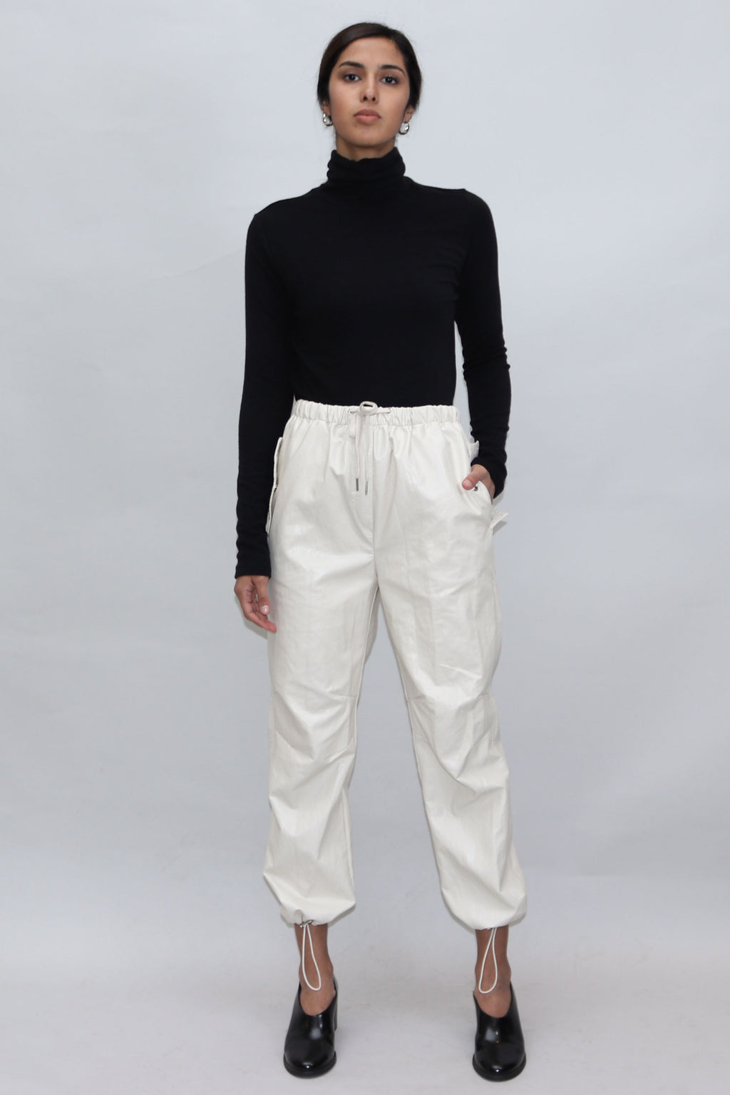 Cream Leather Track Pants