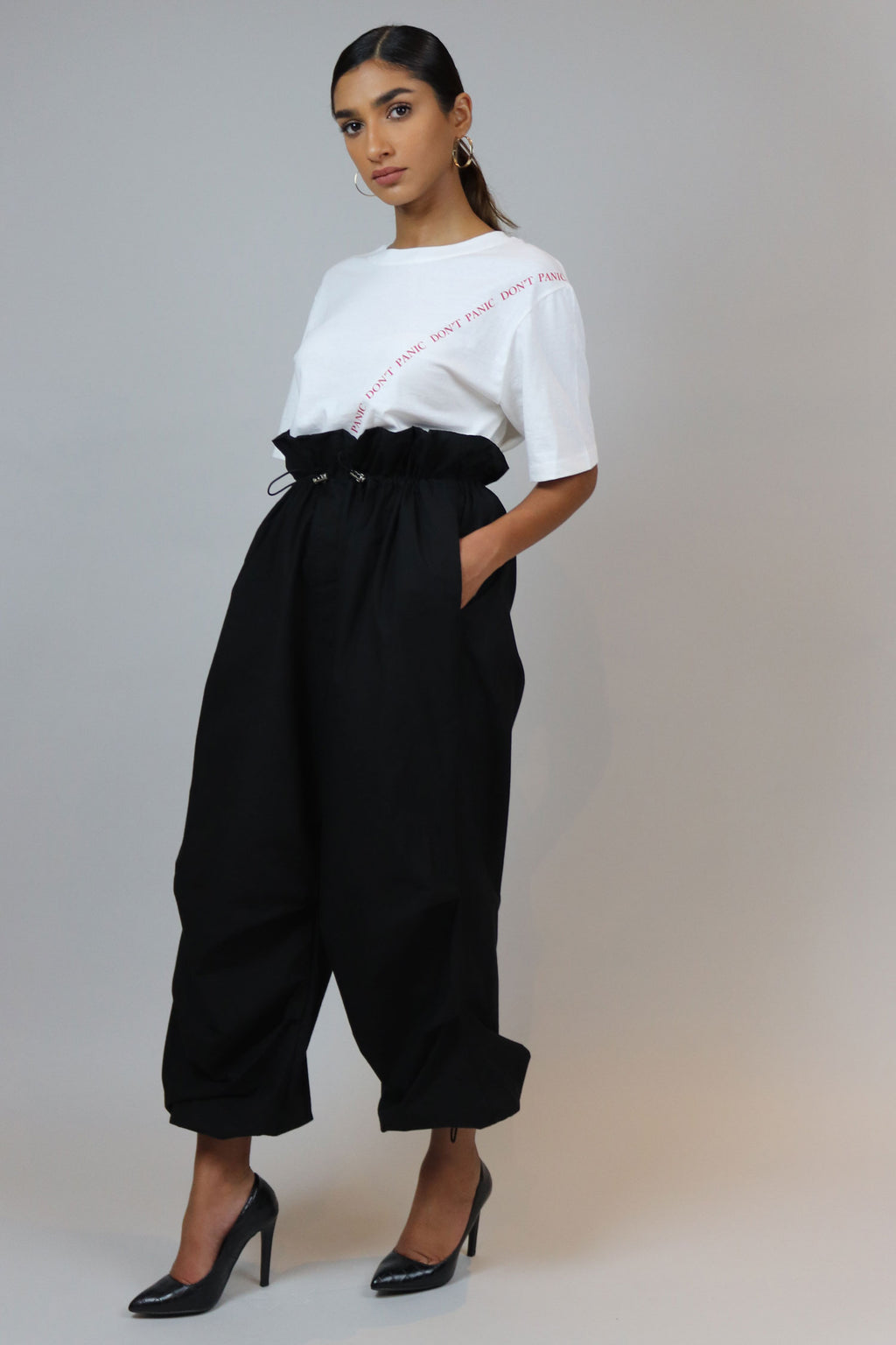 Black Draw Strings High Waisted Pants