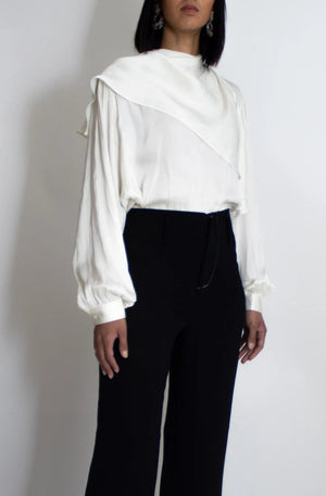 Ivory Silk Scarf Blouse