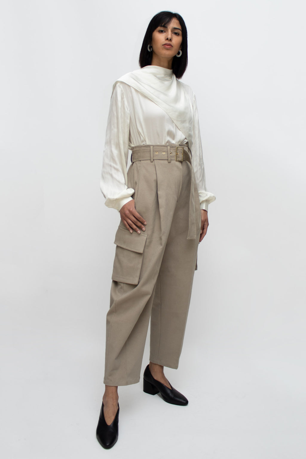 Beige Cargo Belted High Waist Pants