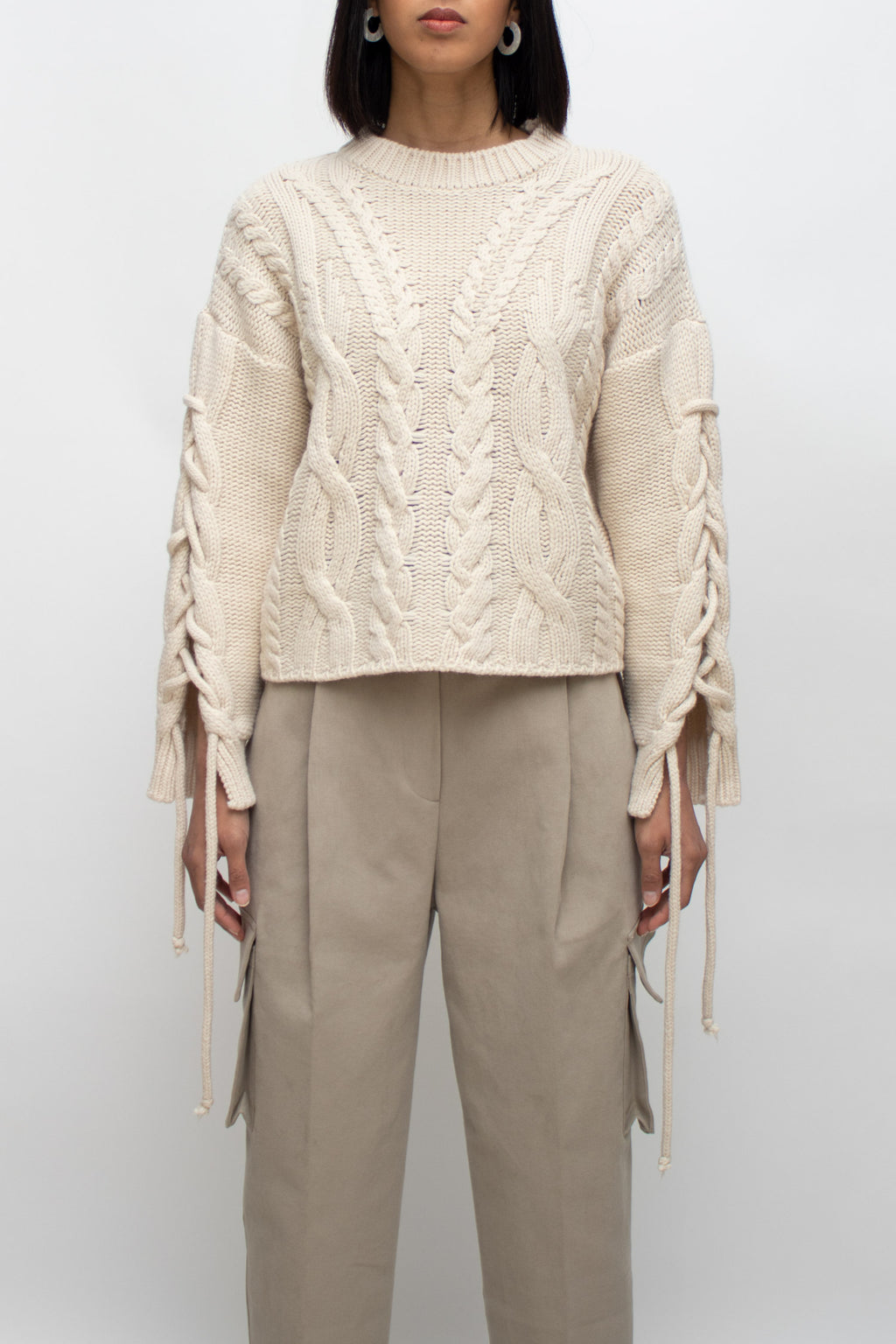 Sand String Sleeves Round Neck Sweater