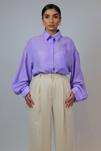 WANTS Loose Lavender Button Down Top