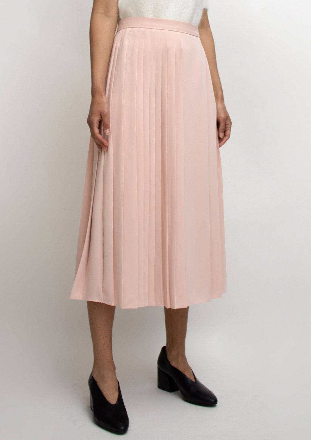 Pink Pleats Midi Skirt