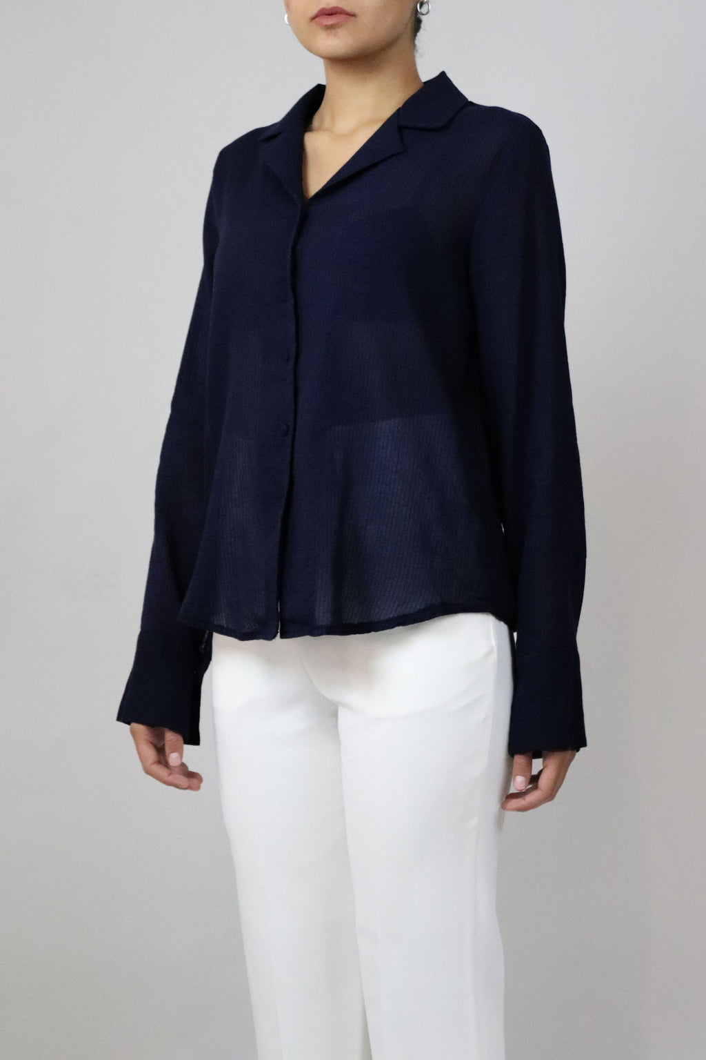 Basic Navy Button Down Top