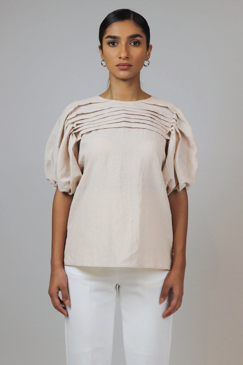 Pleated Short Sleeves Top