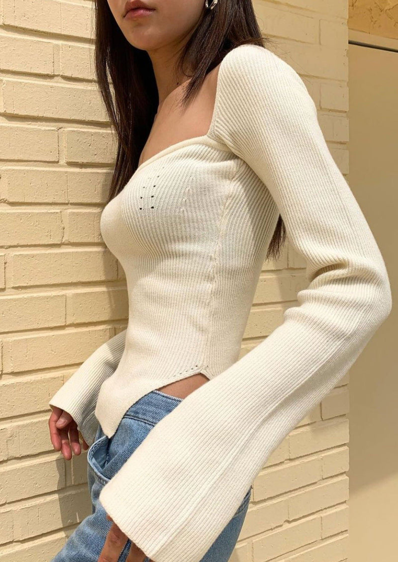 Cream Knit Bustier Top