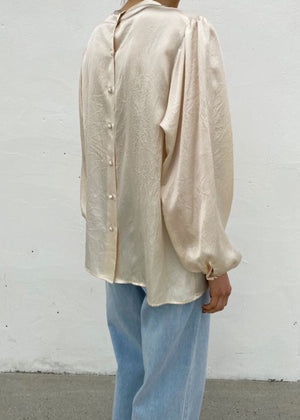 Puff Sleeves Textured Silk Blouse in Champagne