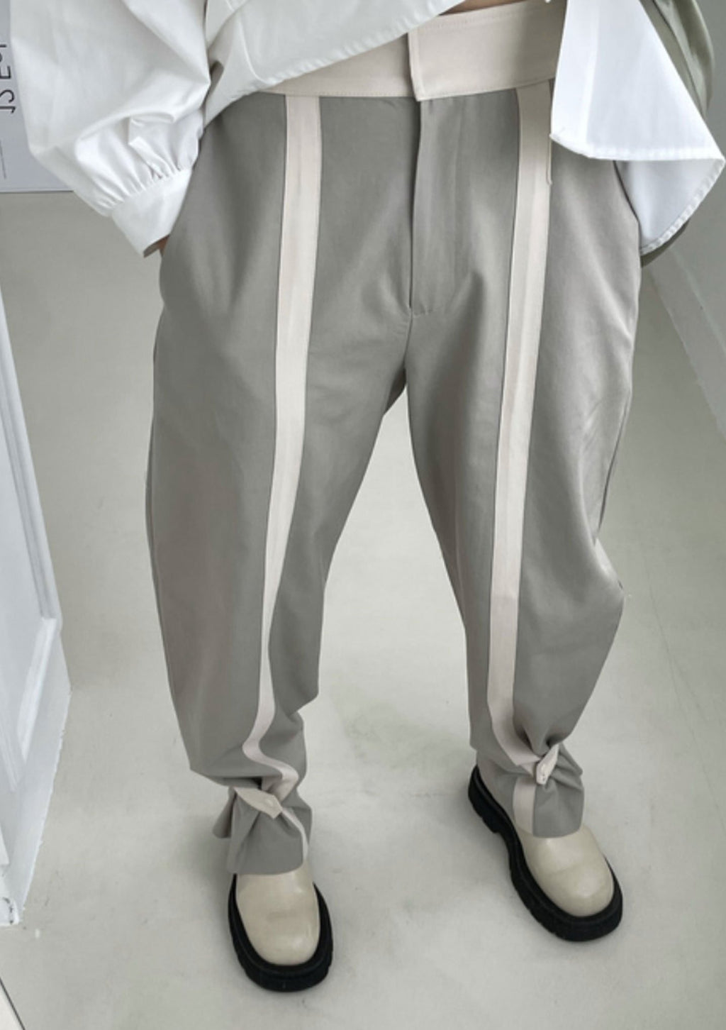Tab Cuffed Pants in Grey