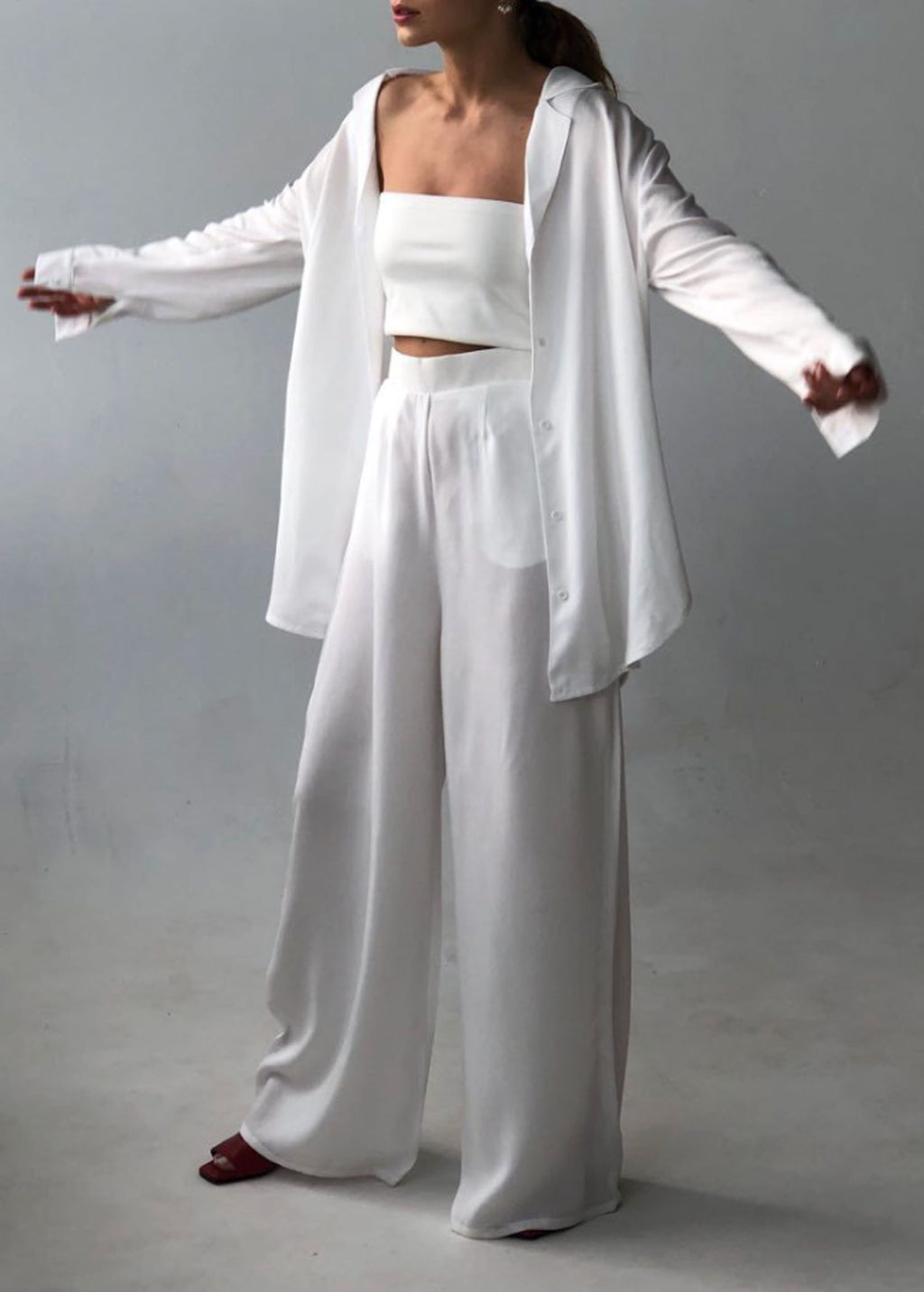 White Tencel Shirt and Trousers Set By BIBLIOTHEQUE