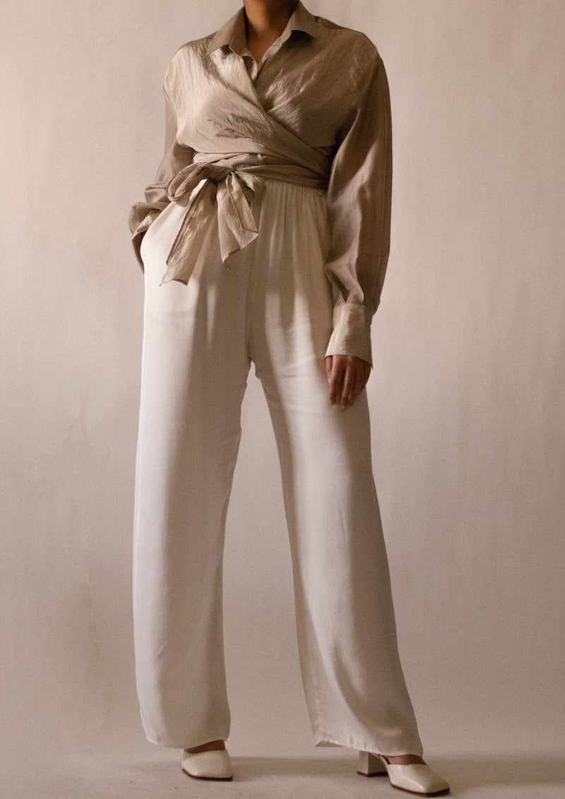 Silk Ivory Wide Pants
