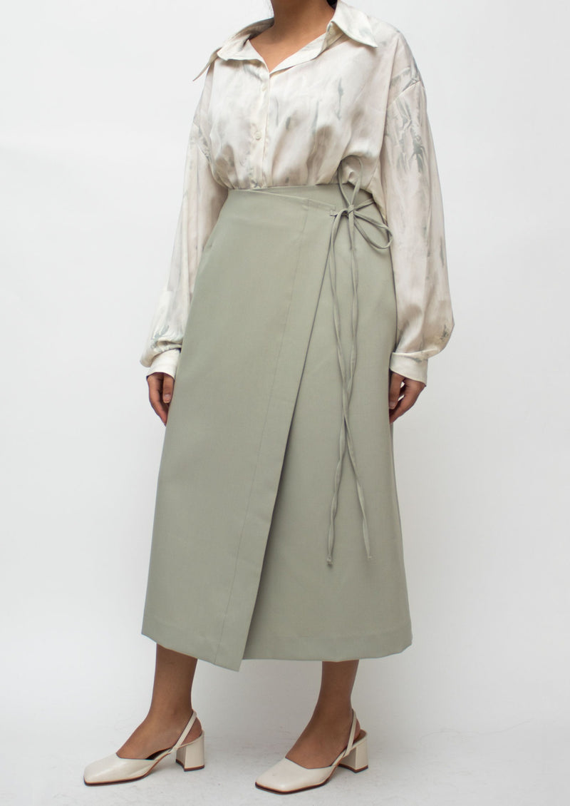 Mint Green Tied Midi Skirt