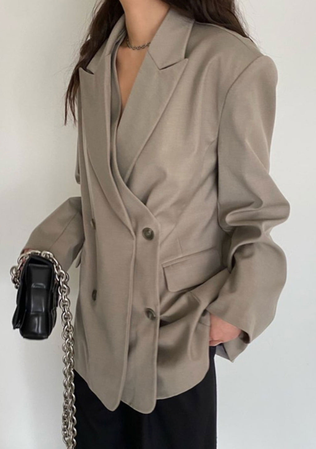 Oversized Double Layer Blazer in Khaki